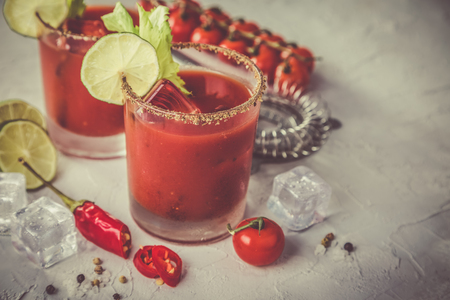 Bloody mary cocktail and ingredients