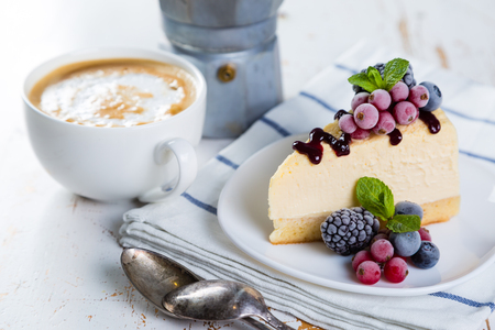 Cheesecake with berries and mint Stock Photo - 73659690