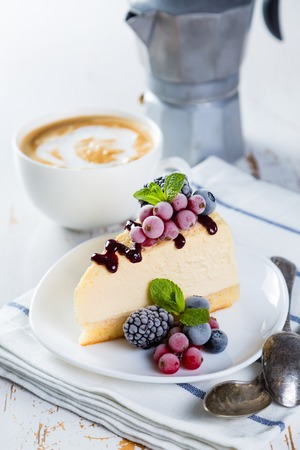 Cheesecake with berries and mint Stock Photo - 73659691