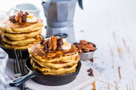 Breakfast - chocolate chip pancakes with coffee and juice Stock fotó