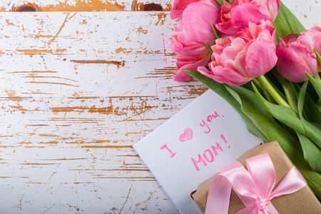 Mothers day card with coffee, present Stock Photo