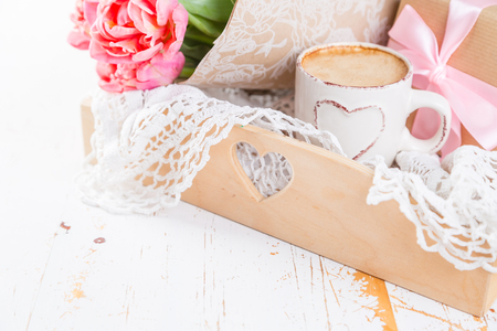 Mothers day card with coffee, present, copy space Stock Photo