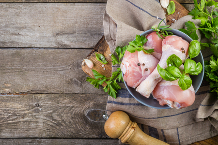 Raw Chicken Legs For Bbc With Herbs And Spices Stock Photo Picture