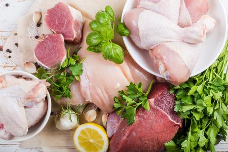 Sélection de différentes coupes de viande Banque d'images - 75678514