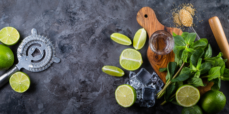 Mojito cocktail and ingredients Stock Photo - 75843202