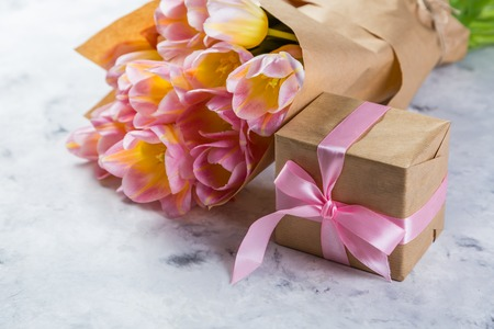 Mothers day card with coffee, present Stock Photo - 80985228