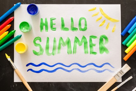 Hello summer painting with brushes