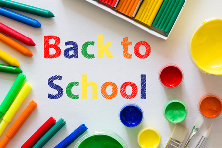 Back to school background concept with stationary, white background Stock Photo