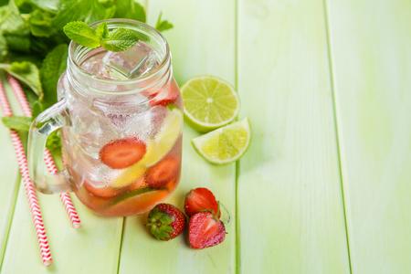 Strawberry mojito in glass jar