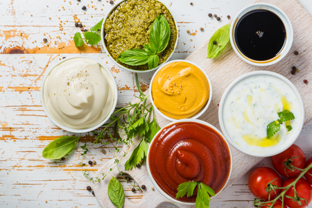 Selection of different sauces in bowls Stok Fotoğraf - 83255680