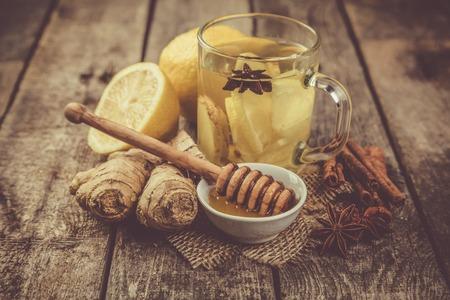 Ginger tea with lemon and honey