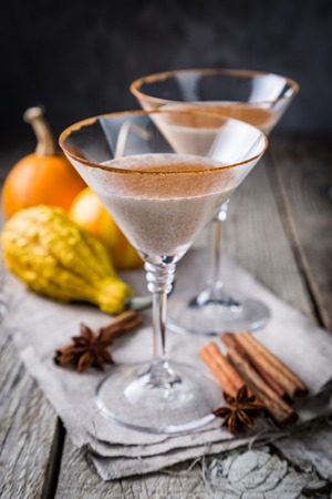 Autumn martini cinnamon cocktail