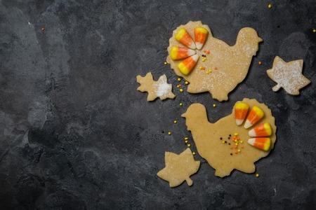 추수 감사절 개념 - 제빵 재료와 기호