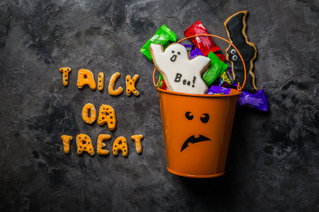 celebrate: Halloween concept - basket with candies