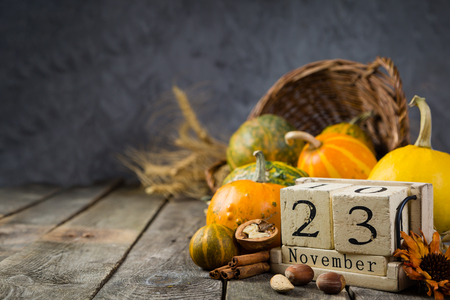 Thanksgiving concept - decorations with pumpkins Stock Photo