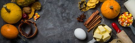 Thanksgiving concept - baking ingredients and symbols
