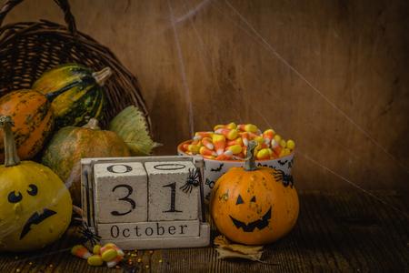 Halloween concept - pumpkins and symbols Stock Photo