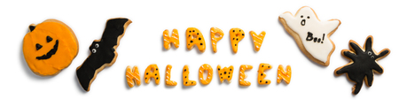 Halloween concept - cookies of symbols, isolated on white