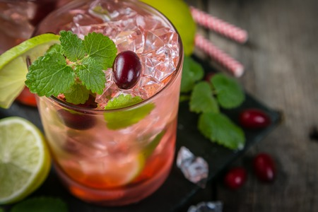 Cranberry mojito on rustic wood background Stok Fotoğraf