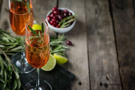 Cranberry and rosemary champagne cocktail