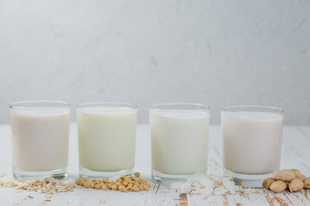 Non-dairy milk alternatives Stock Photo