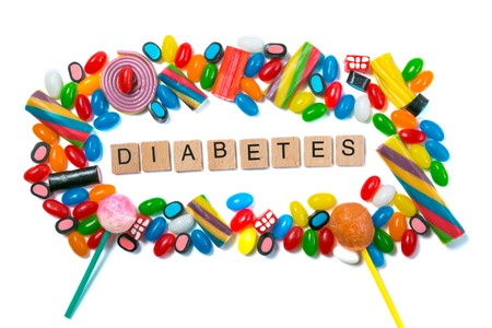 Diabetes concept - selection of candy on white background