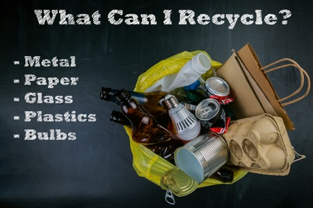 Recycling concept, top view Stock Photo