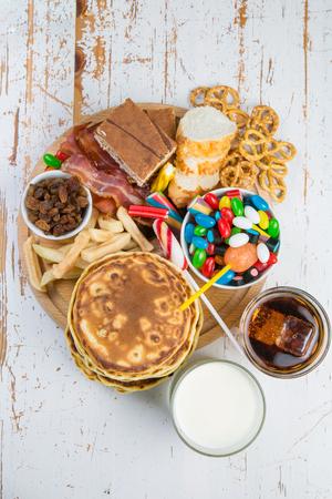 Sélection de la nourriture qui peut causer du diabète Banque d'images - 91139315