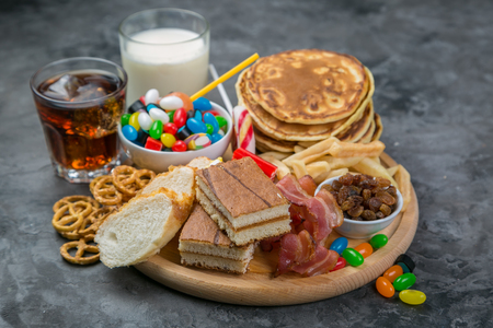 Selection of food that can cause diabetes Stok Fotoğraf