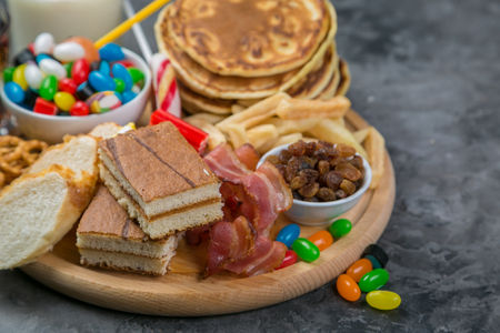Selection of food that can cause diabetes Stock Photo