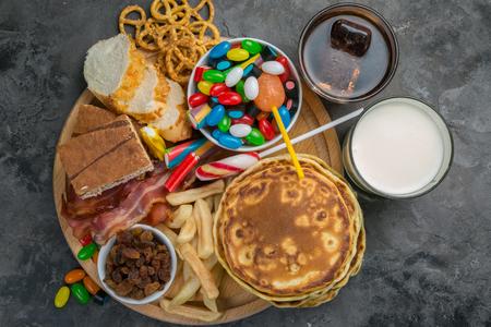 Selection of food that can cause diabetes Foto de archivo