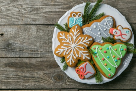 Christmas cookies on rustic wood background Stock Photo