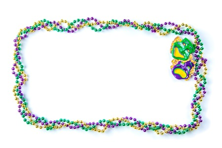 Mardi gras carnival background - beads and mask 스톡 콘텐츠