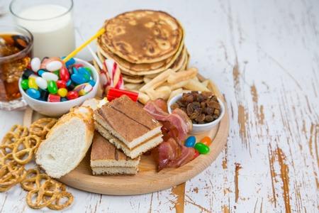 Selection of food that can cause diabetes, healthcare concept Foto de archivo
