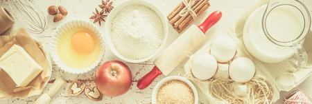 Baking ingredients background Imagens