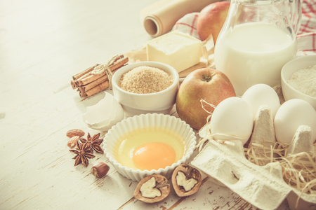 Baking ingredients background Stock Photo