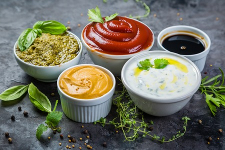 Selection of different sauces in bowls Zdjęcie Seryjne - 94879549