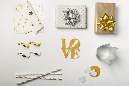 Valentines day concept - decorations on white background