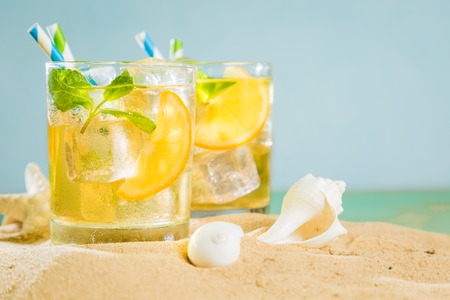 Summer drink on sand beach Stok Fotoğraf