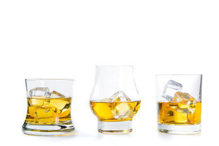 Strong alcohol drinks on white background