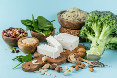 Selection of vegetarian protein sources - healthy diet concent