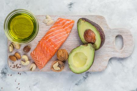 Selectie van goede vetbronnen - gezond eten concept. Ketogeen dieet concept Stockfoto
