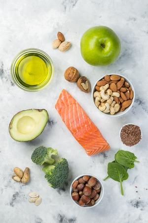 Selectie van gezonde voedselbronnen - gezond eten concept. Ketogeen dieet concept