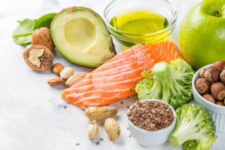 Selection of healthy food sources - healthy eating concept. Ketogenic diet concept Archivio Fotografico