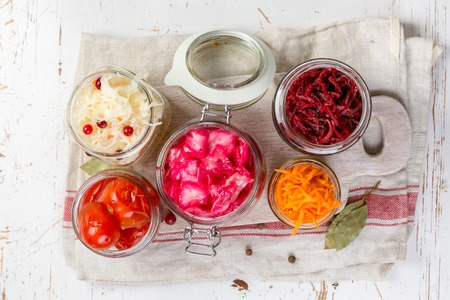 Selection of fermented food - carrot, cabbage, tomatoes, beetroot, copy space Banque d'images - 97616606