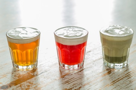 Taiwanese food trend - cheese tea assortment on white wood background