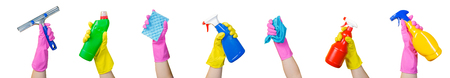 Cleaning concept - hands holding supplies, isolated Reklamní fotografie - 99889844