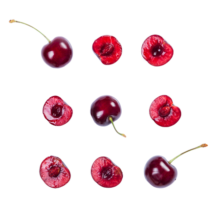 Cherry pattern isolated on white Standard-Bild