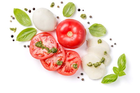 Italian cuisine concept - caprese salad ingredients isolated on white Stock Photo