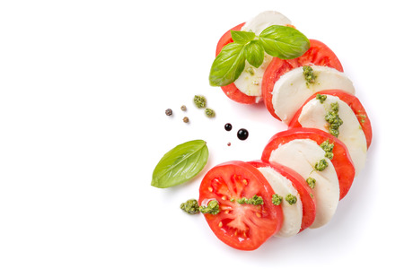 Italian cuisine concept - caprese salad isolated on white
